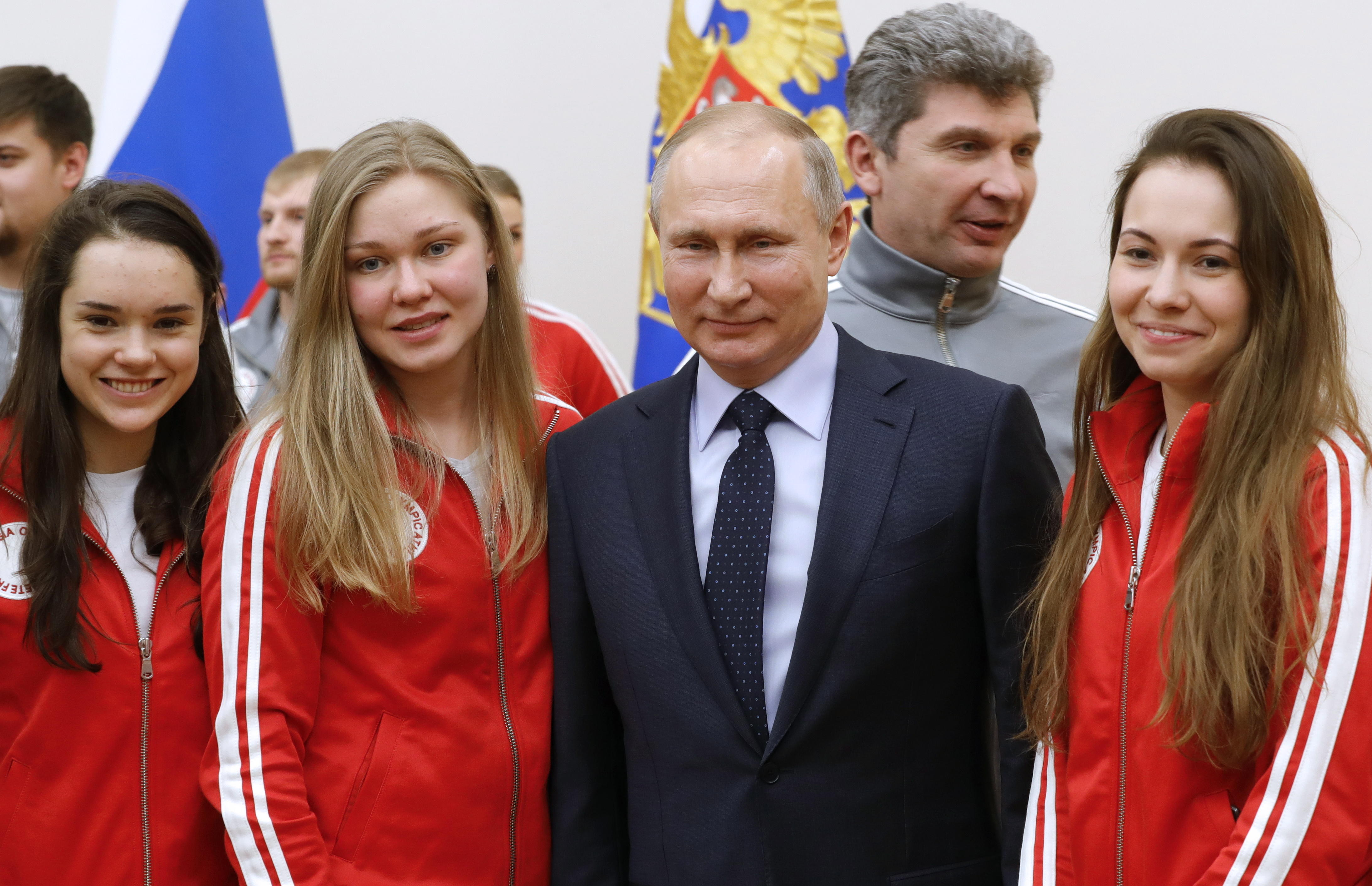 President Putin meets with Russian athletes competing in 2018 Pyeongchang Olympics