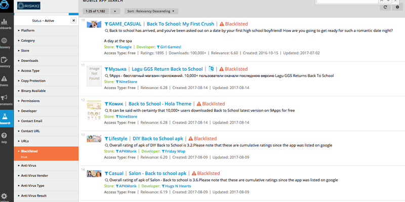 """Some of the apps targeting """"back to school"""" that've been blacklisted by security company RiskIQ."""