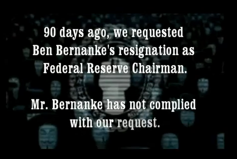 Anonymous warns about attack on Federal Reserve in a YouTube video.