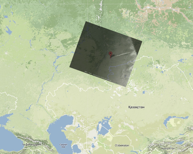 Google Maps overlay of the Russian meteor