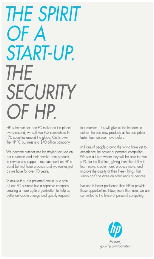 HP's ad clearly lobbies for a spin off of the PC business into a separate company.