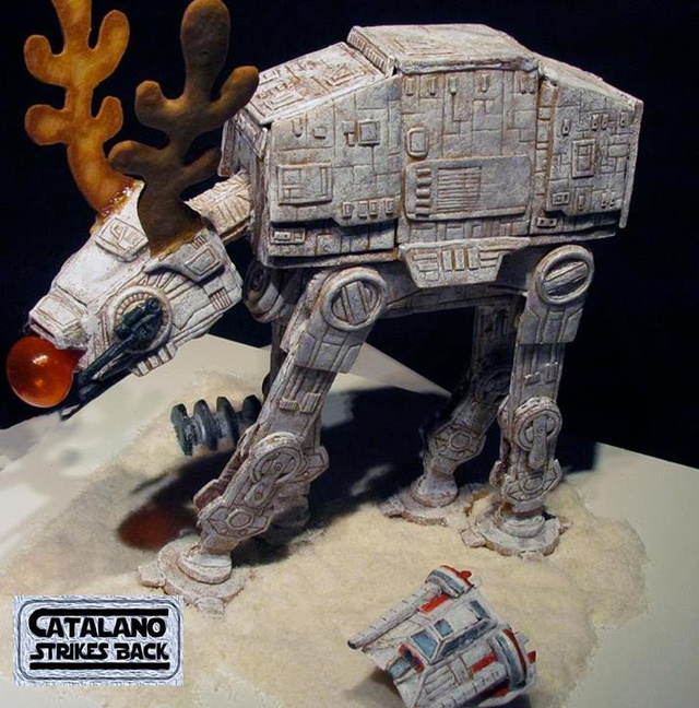 This Gingerbread AT-AT Reindeer has a very shiny, edible nose.