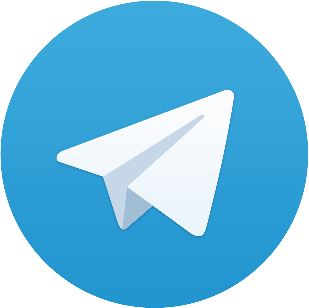 The Telegram logo, showing an illustration of a paper airplane