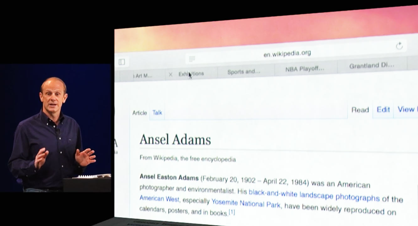 In this demo at WWDC, the next Safari hid the full address of the Ansel Adams Wikipedia page.