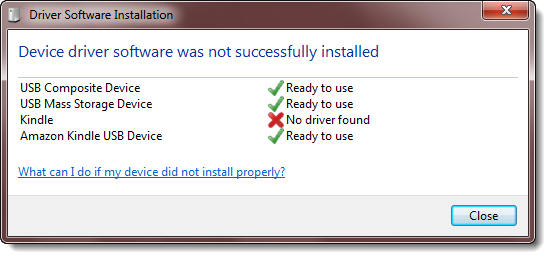 Kindle driver install unsuccessful