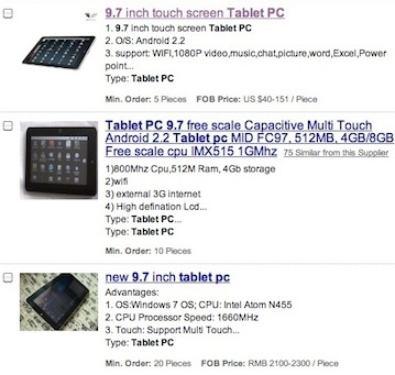 A few samples of the thousands of tablets listed on the China-based Alibaba Web site.