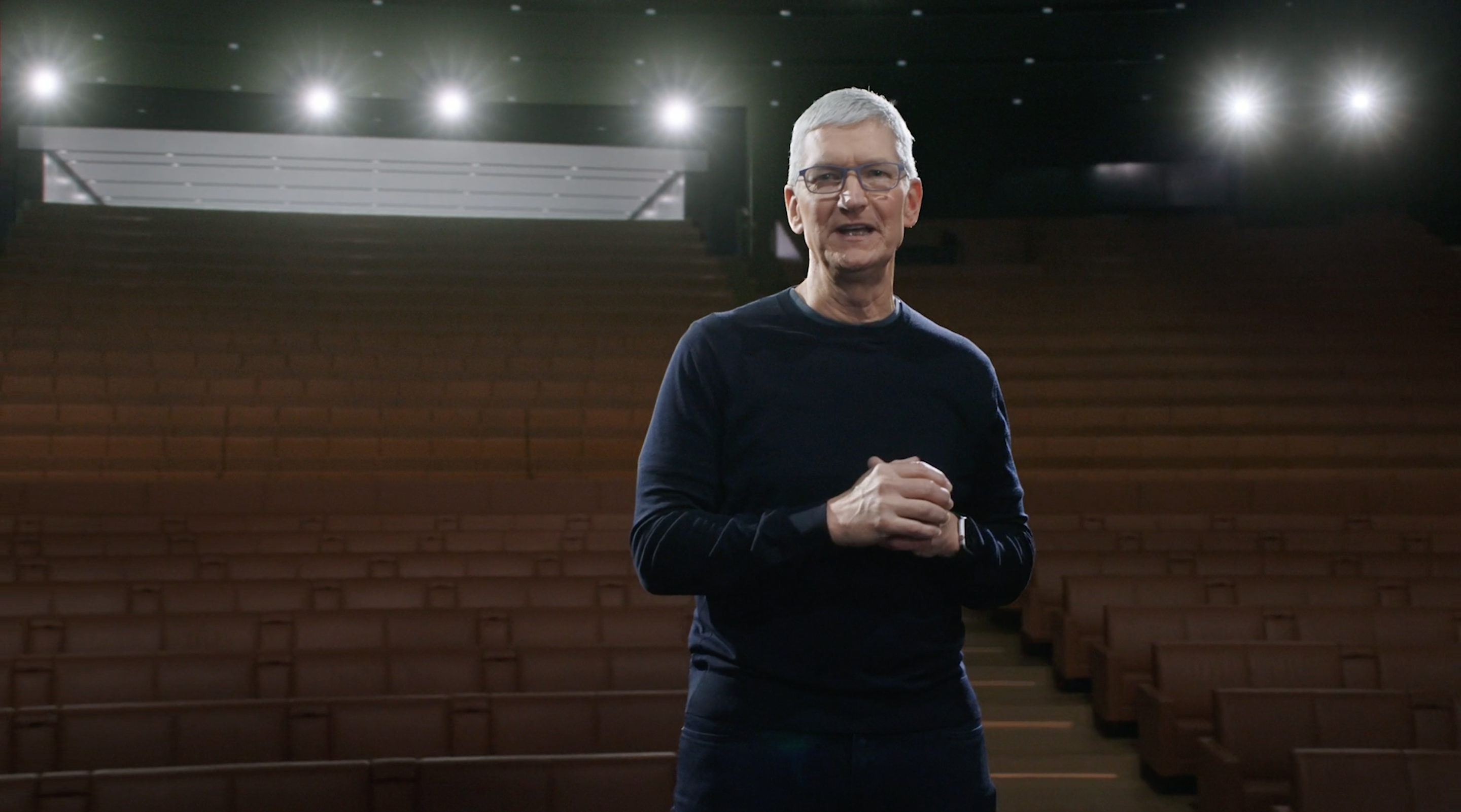 Tim Cook Steve Jobs Theater light camera action Apple Park