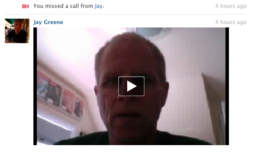 A missed call from Jay gave him the option to leave me a video message. There's no such feature through Google (without workarounds).