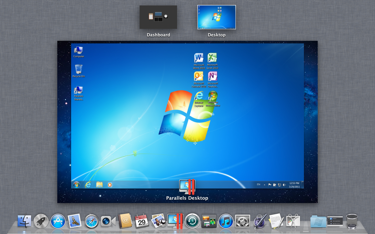 Parallels 7 in full-screen mode.