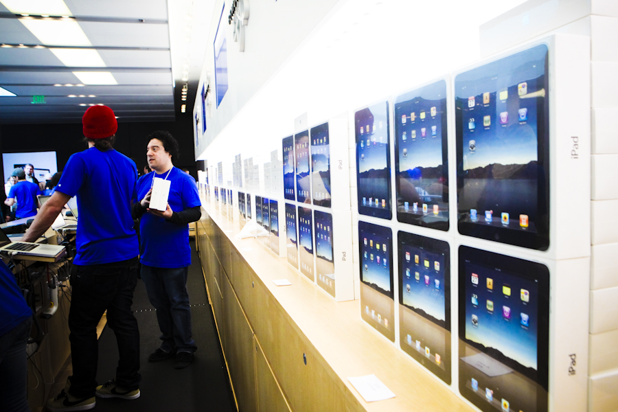 Stack of iPads are piled up at the San Francisco Apple Store at the iPad 2 launch earlier this year.