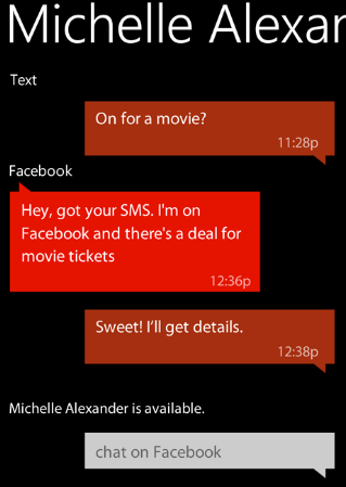 Threaded messages with text, Facebook