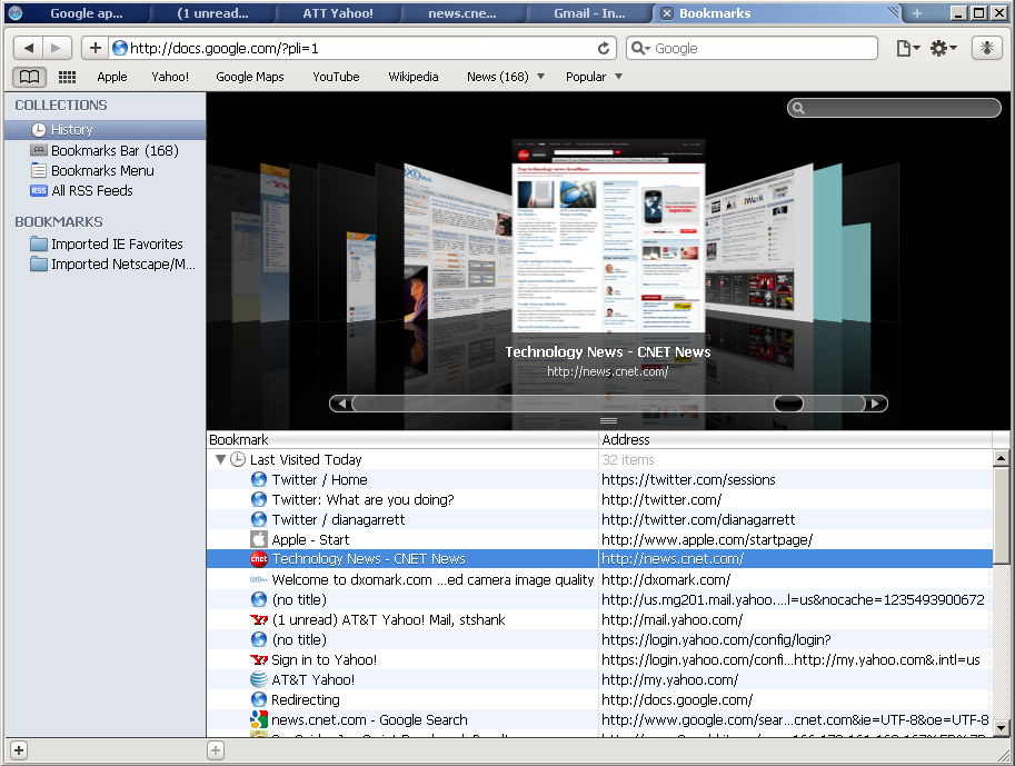Safari 4 gets a Cover Flow interface to looking at browser history.