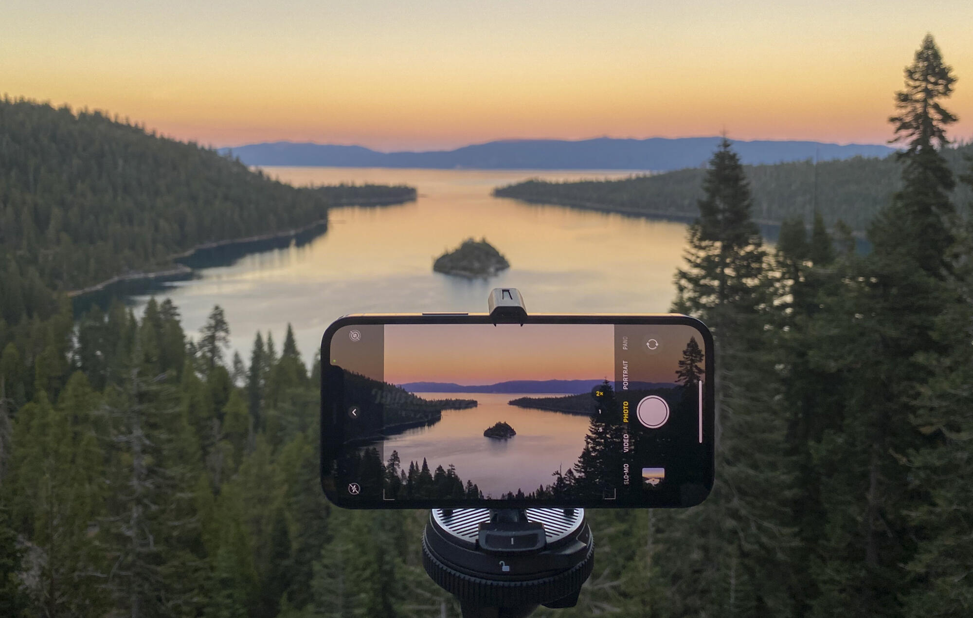 Shooting with the iPhone 12 Pro above Emerald Bay in Lake Tahoe, California.