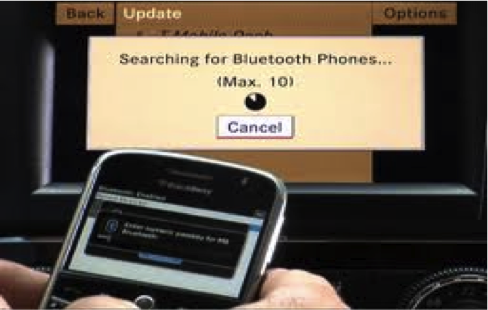 A BlackBerry smartphone being paired using Bluetooth connectivity in a vehicle.