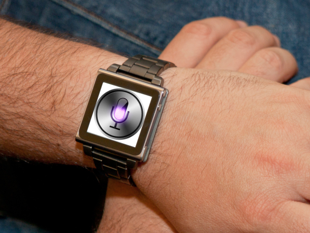 A mockup showing what an Apple iWatch might look like.