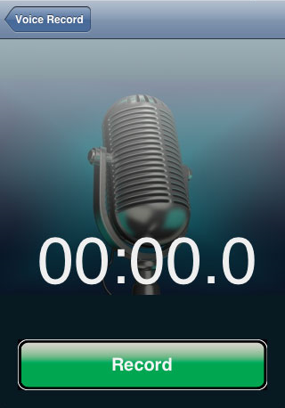 Photo of iPhone voice recording application.