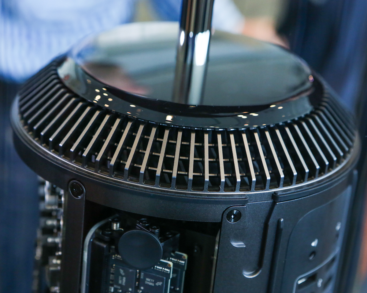 The new Mac Pro uses a bottom-to-top airflow, a design that means vents are in a ring around the top.