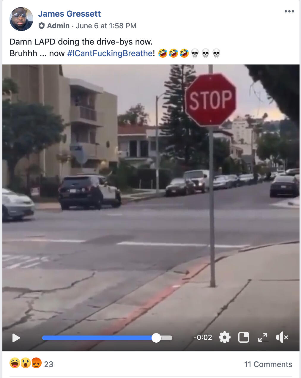 Facebook post of LAPD drive-by
