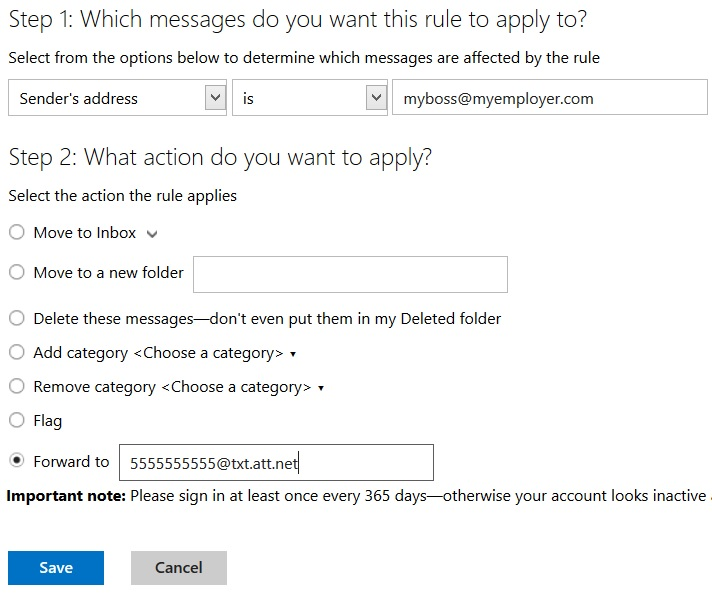 Outlook.com rules wizard