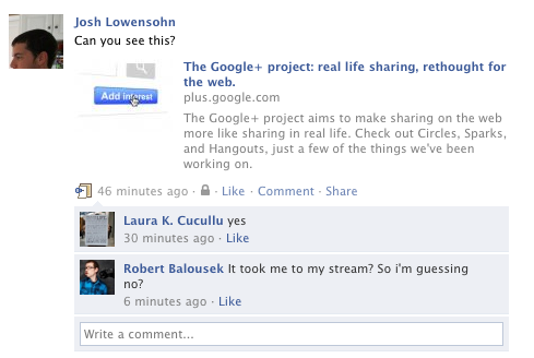 The link that some Google+ users were reportedly unable to see.