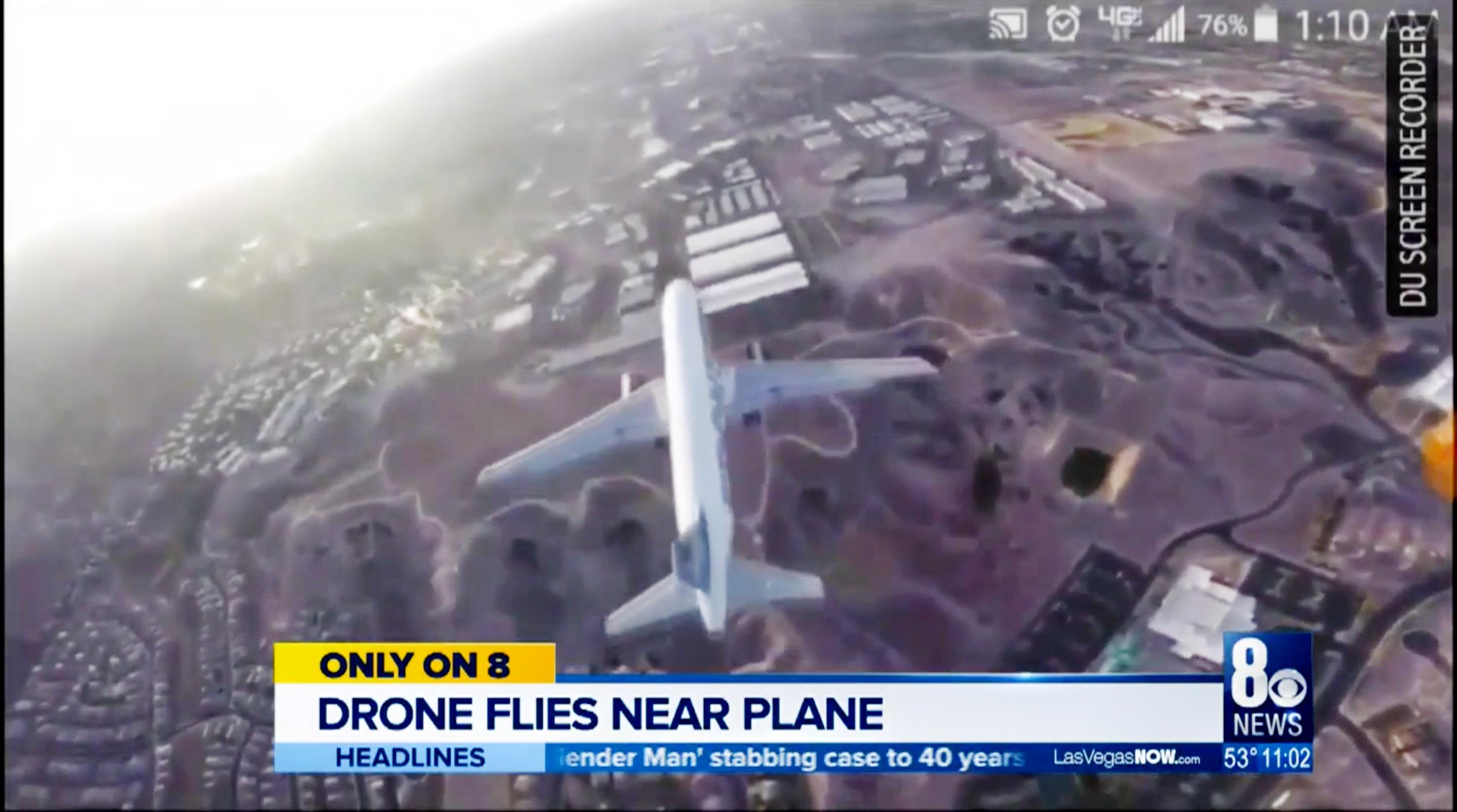 This video apparently was shot from a drone immediately above a jet landing at Las Vegas's airport.