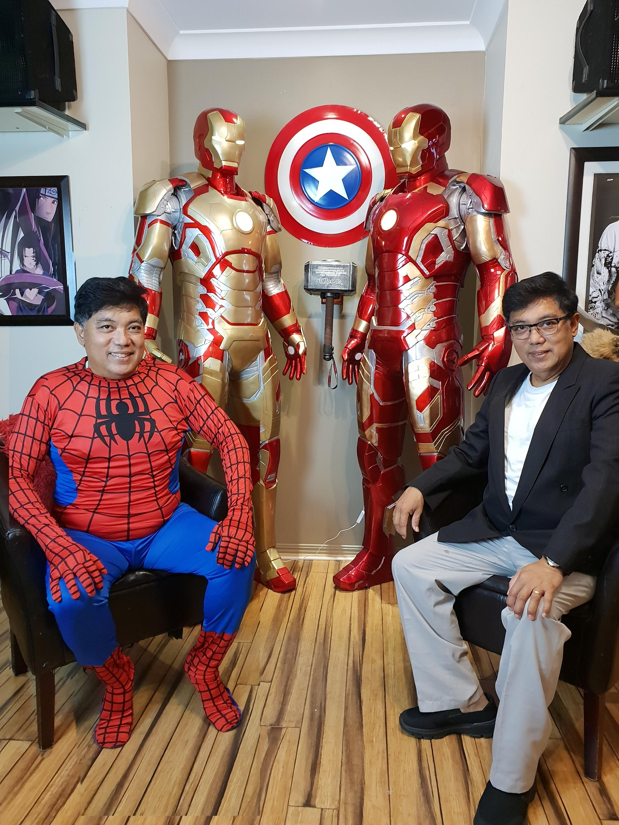Life size Iron Man statues -- Mark 42 and Mark 43