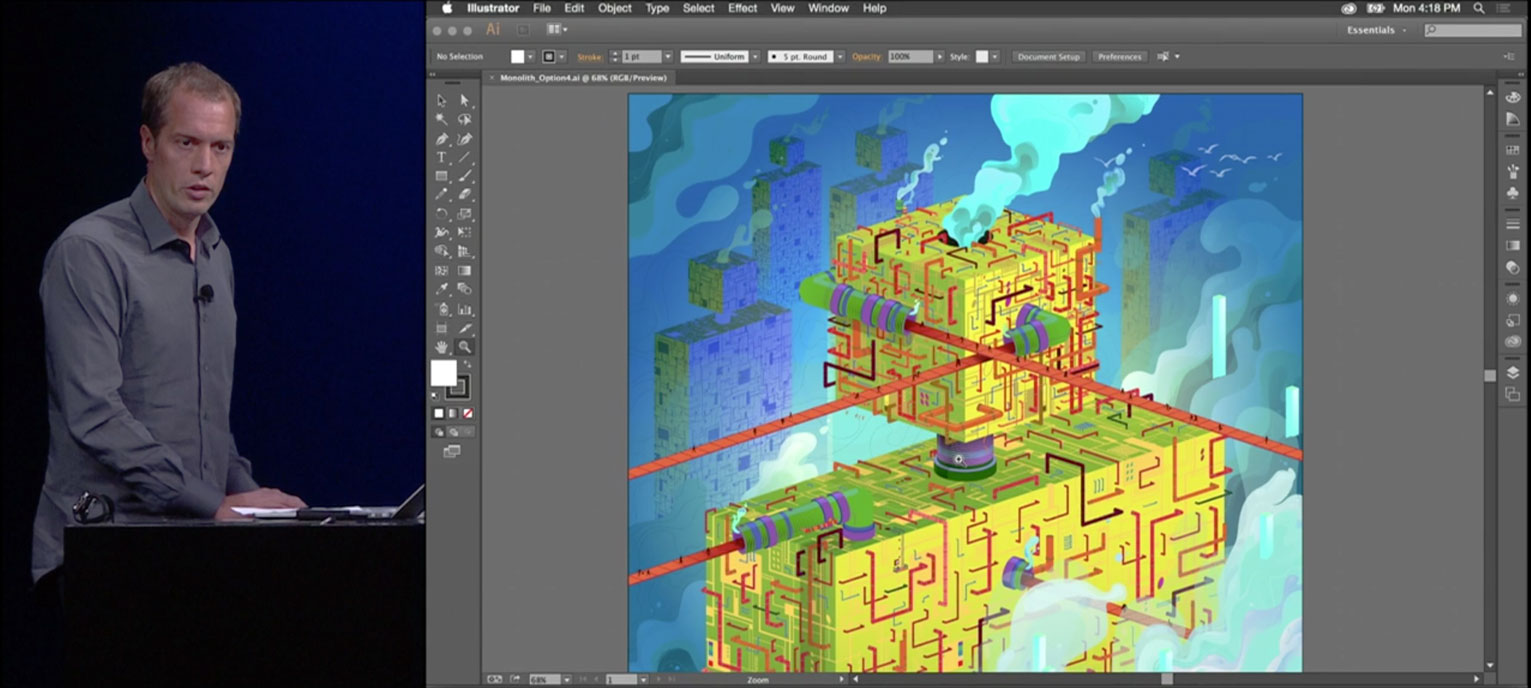 Adobe's David McGavran shows how Apple's Metal technology gives Illustrator a fluid new zoom ability.