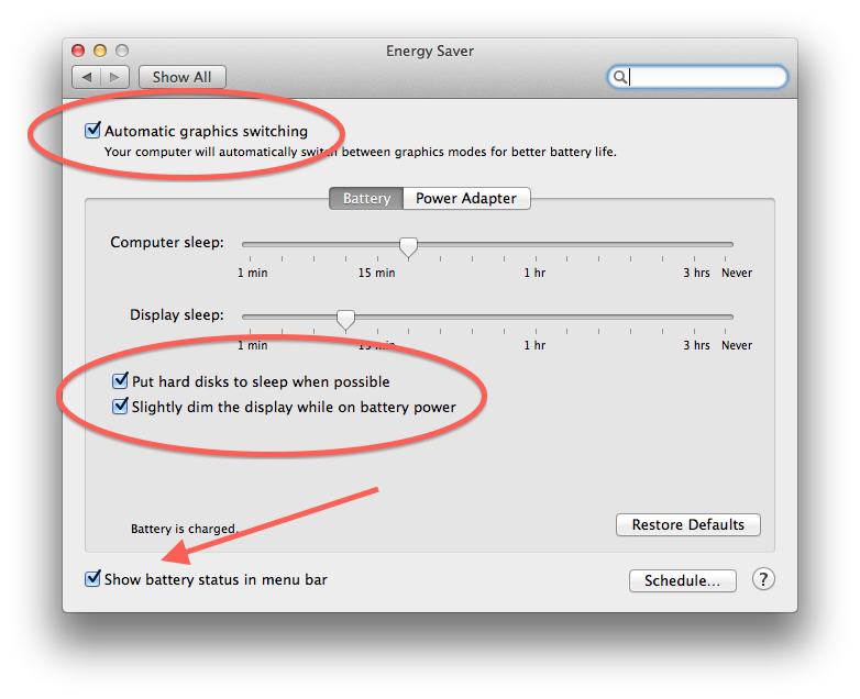 Energy Saver system preferences in OS X Mavericks