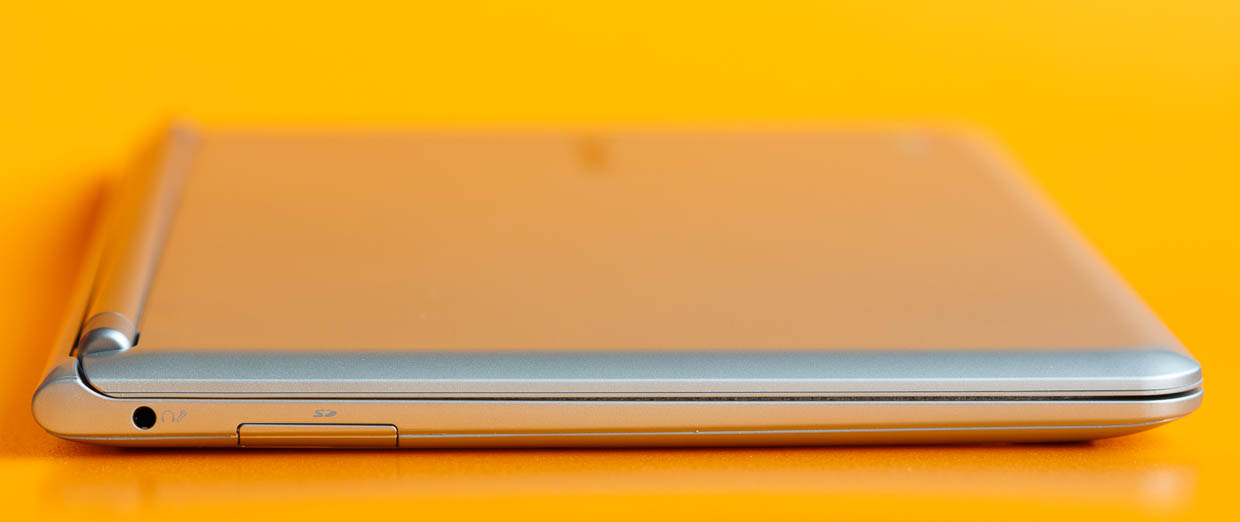On the left edge of the Samsung Chromebook is an SD Card slot and a headphone-microphone jack.