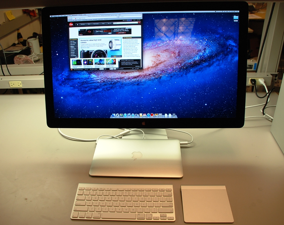 Apple's Thunderbolt Display makes for a great workstation when coupled with a Thunderbolt-enabled MacBook computer and an external mouse and keyboard.