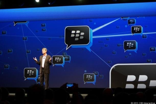 BlackBerry CEO Thorsten Heins announcing BBM support for iOS and Android in May 2013.