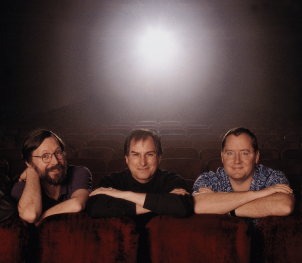 In this archival photograph, Steve Jobs is seen with the studio's other major players, Ed Catmull (left) and John Lasseter (right).