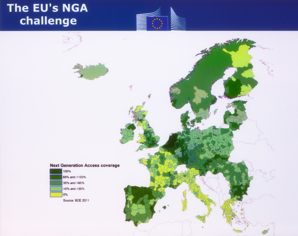 Very fast broadband is arriving at different rates across Europe, according to the European Commission.