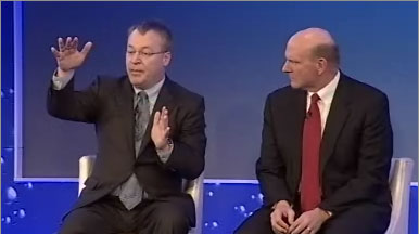 Then-Nokia CEO Stephen Elop, left, and Microsoft CEO Steve Ballmer discussing their Windows Phone alliance in 2011.