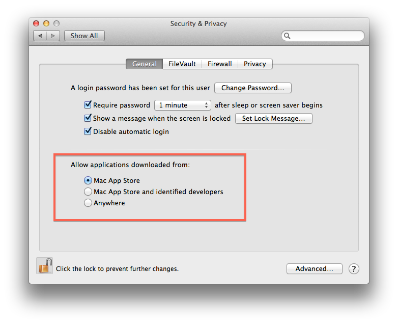 Gatekeeper settings in OS X