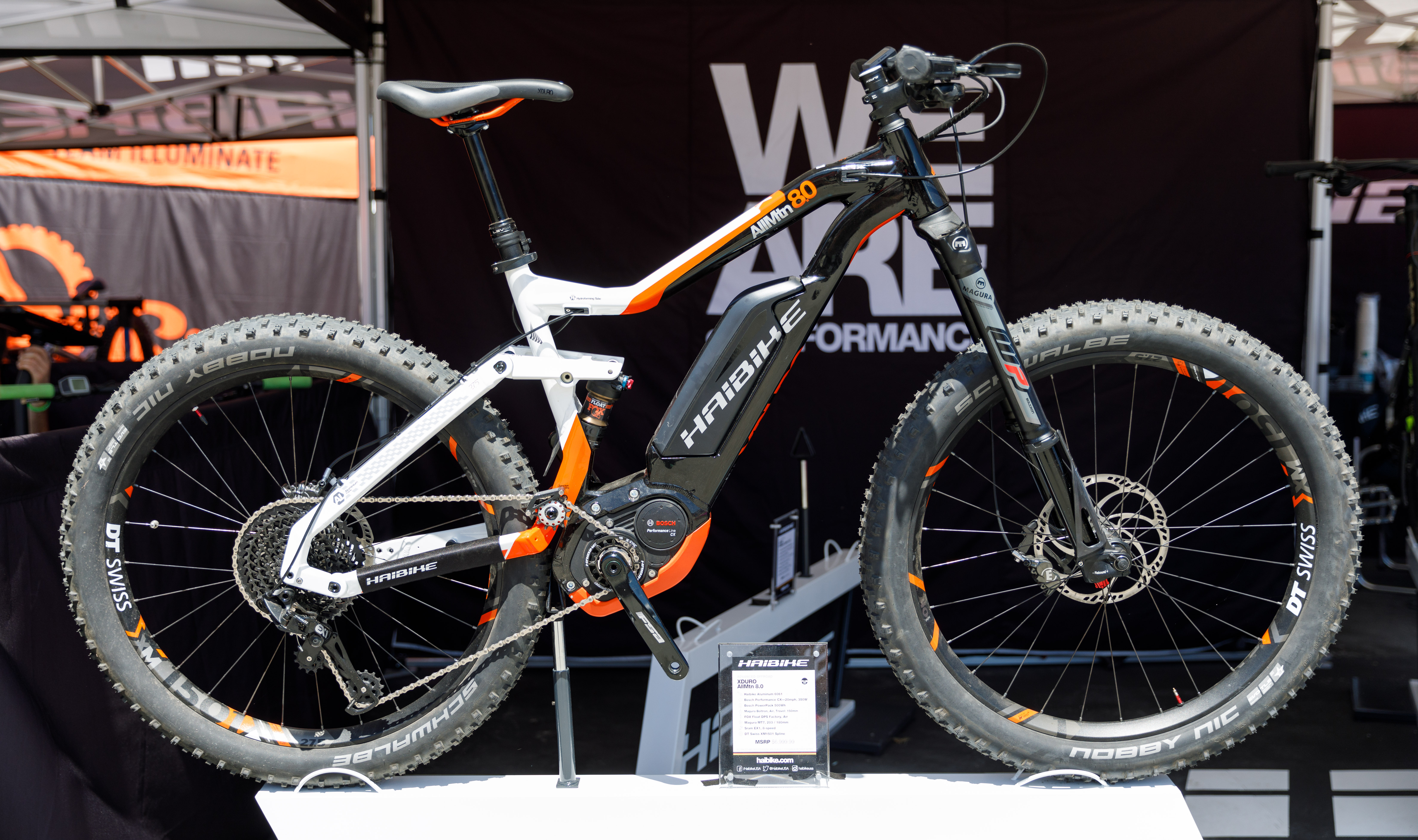 German bike maker Haibike was an early entrant into the e-mountain bike market. This full-suspension Xduro AllMtn 8.0 costs $8,000 and has a 500Wh battery and 350W motor from Bosch.