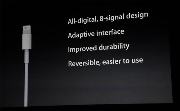 Apple's description of Lightning's features shown during the iPhone 5 launch event.