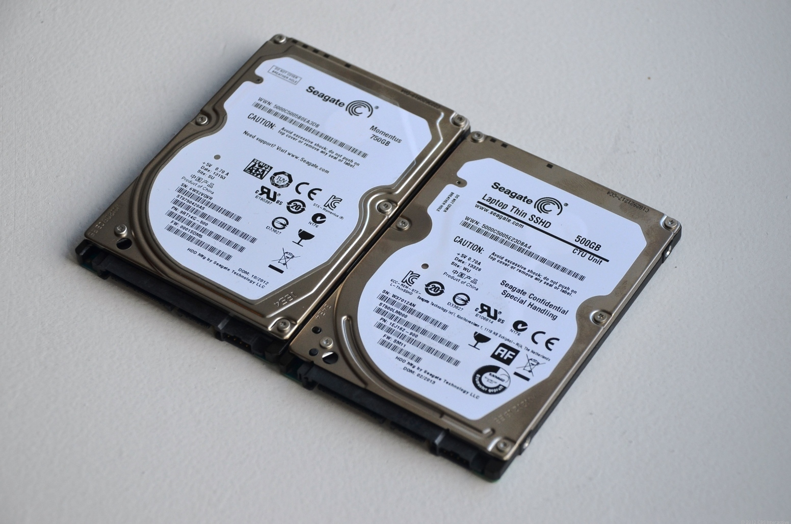 The new Laptop Thin SSHD (right) looks very similar to a Momentus regular hard drive, but 2.5mm thinner.