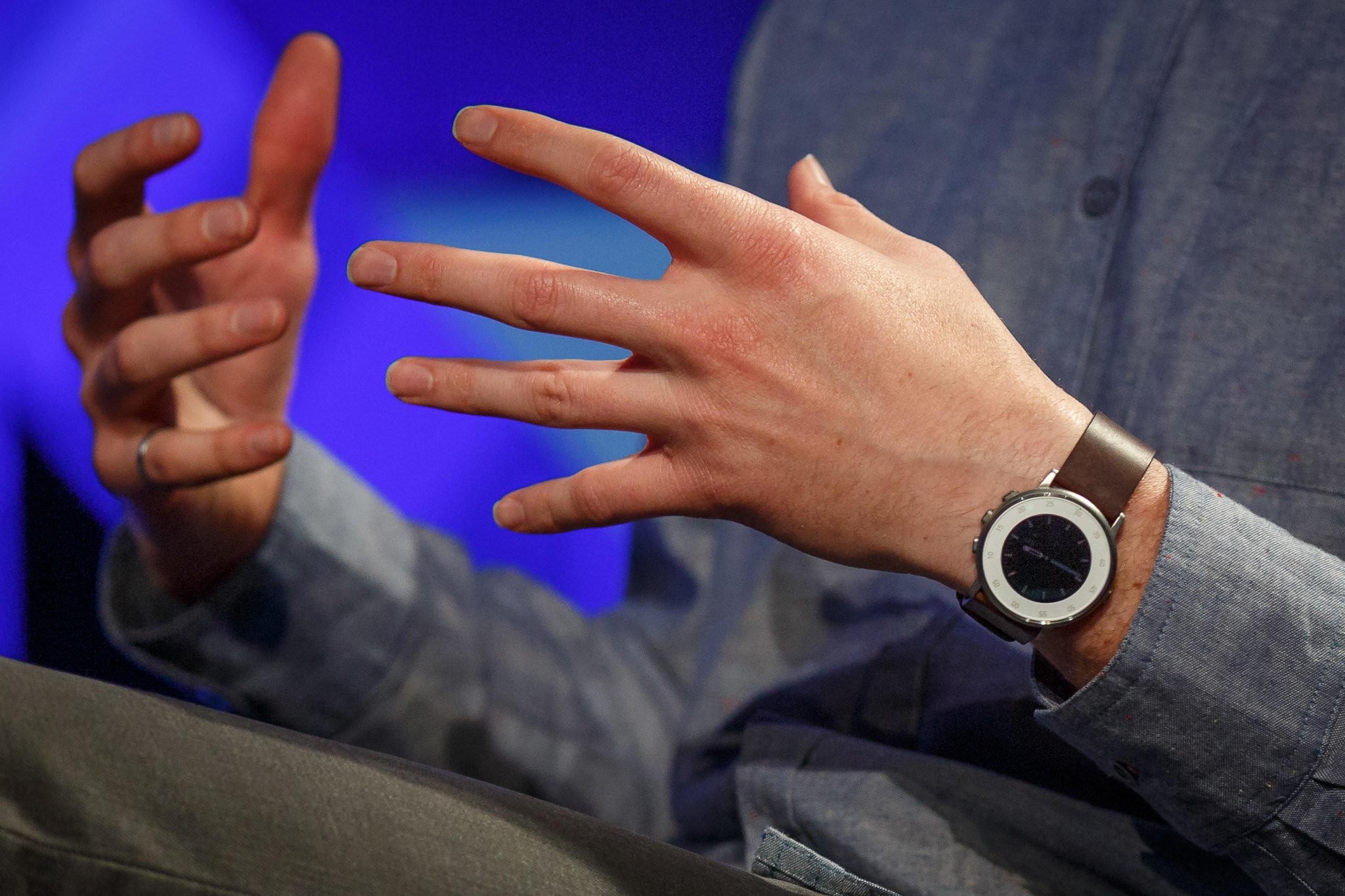 Pebble CEO Eric Migicovsky wears a Pebble Time Round watch at the Web Summit tech conference.