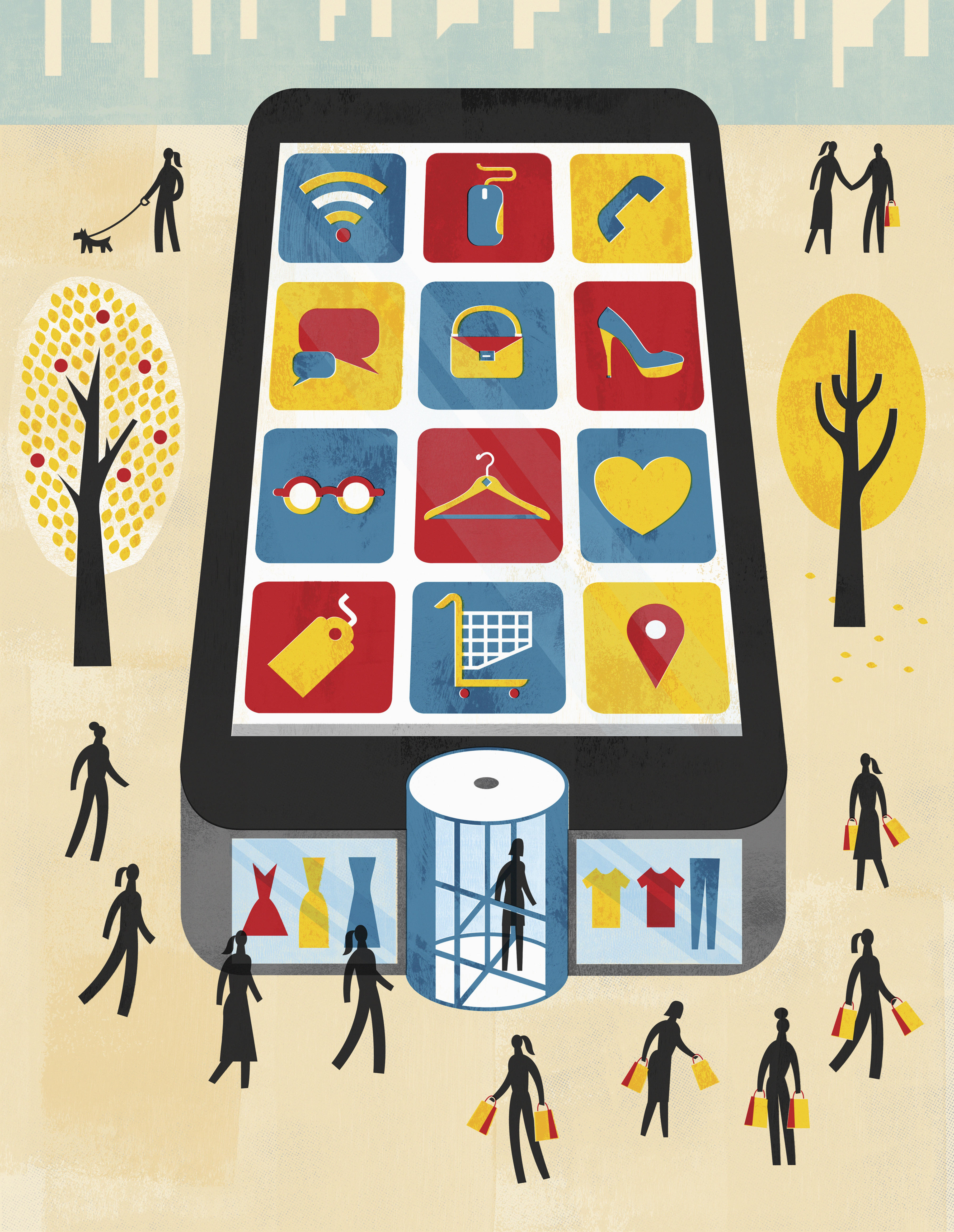 Illustration of smartphone as department store for internet shopping and mobile apps