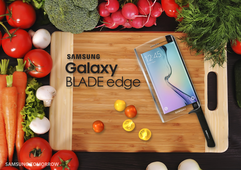 Samsung showed its Galaxy Blade Edge smart knife for April Fools' Day.