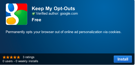 Google's new Chrome extension stores opt-out settings that users have placed with two ad-industry organizations.