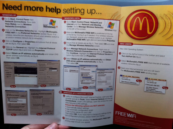 McDonald's step-by-step guide for customers who 'need more help' to make a Wi-Fi connection makes a graphic statement about Windows vs. Mac.