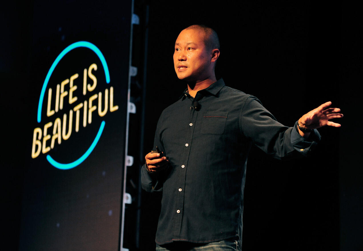 Tony Hsieh speaks at the 2015 Life is Beautiful festival in Las Vegas.
