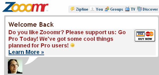 Zooomr wants users to buy new pro accounts.