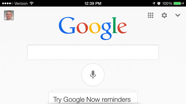 Google's updated search app for iOS.