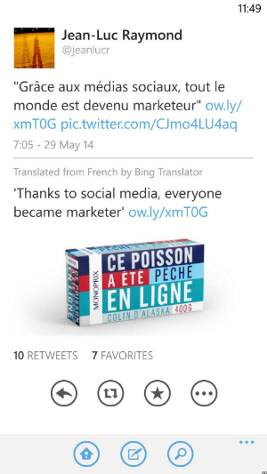 The Twitter app for Windows Phone 8 already offers Bing translation.