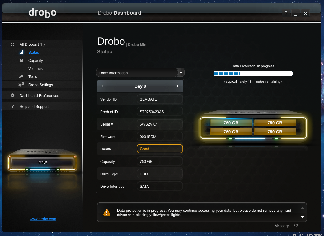 The Drobo Dashboard software shows the Drobo Mini's status in sync with the drive's front LED status lights.