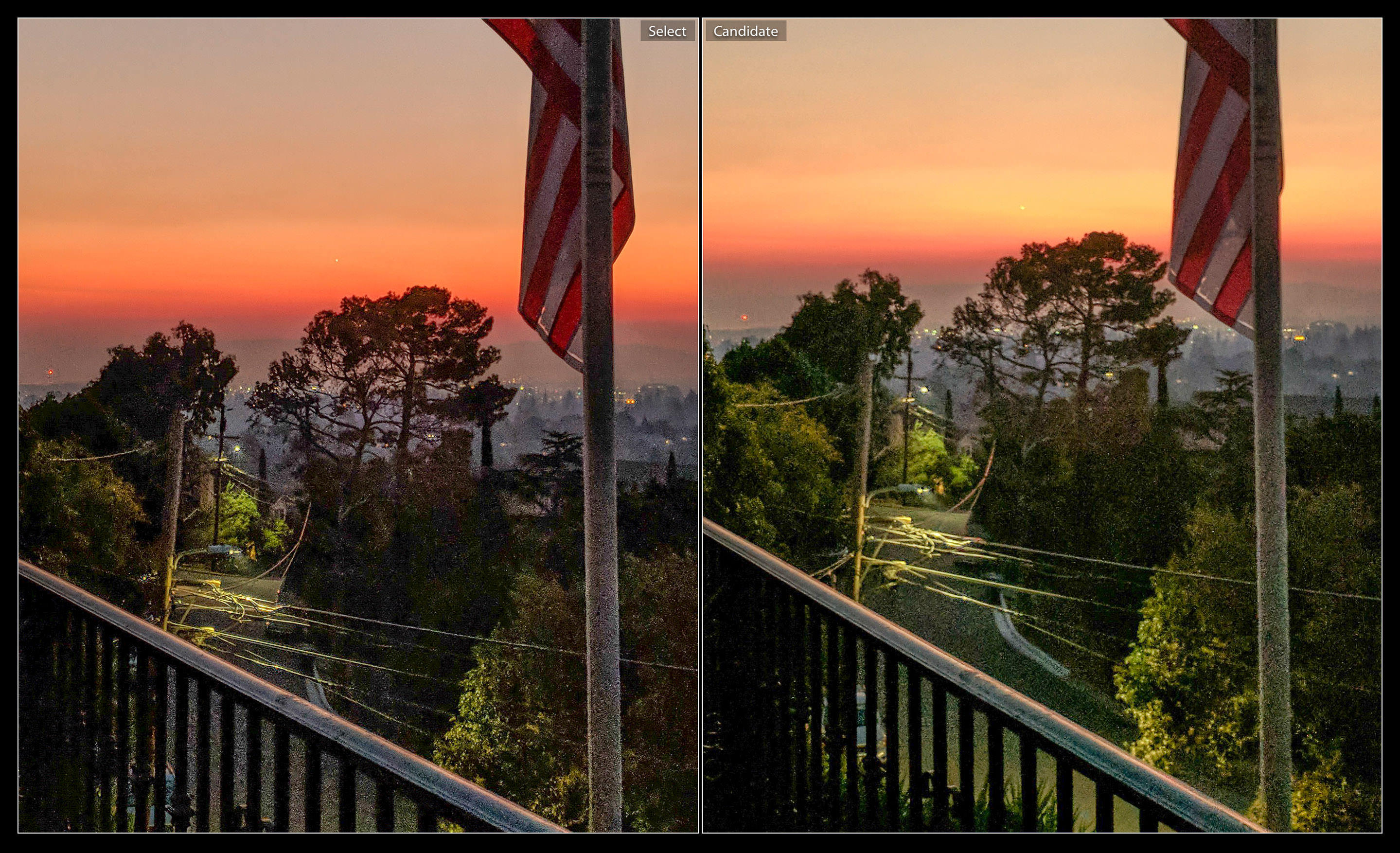 In challenging conditions like this dawn sky, the Pixel 2 photo at left is sharper, with better shadow details and a less washed-out sky compared to the shot from 2016's first-gen Pixel. This image is zoomed in, with shadows boosted to show details.