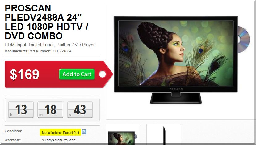 This recertified TV/DVD combo looks like a good deal, but you can buy it new for just $10 more.